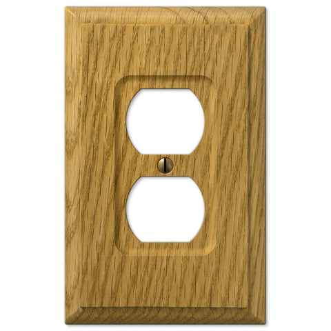 Carson Light Oak Wood - 1 Duplex Outlet Wallplate - Wallplate Warehouse