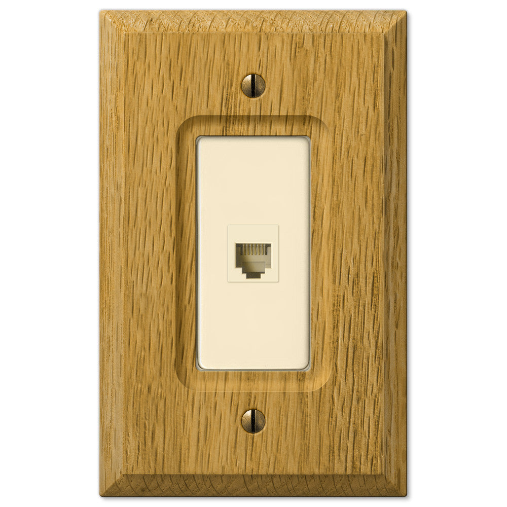 Carson Light Oak Wood - 1 Phone Jack Wallplate - Wallplate Warehouse