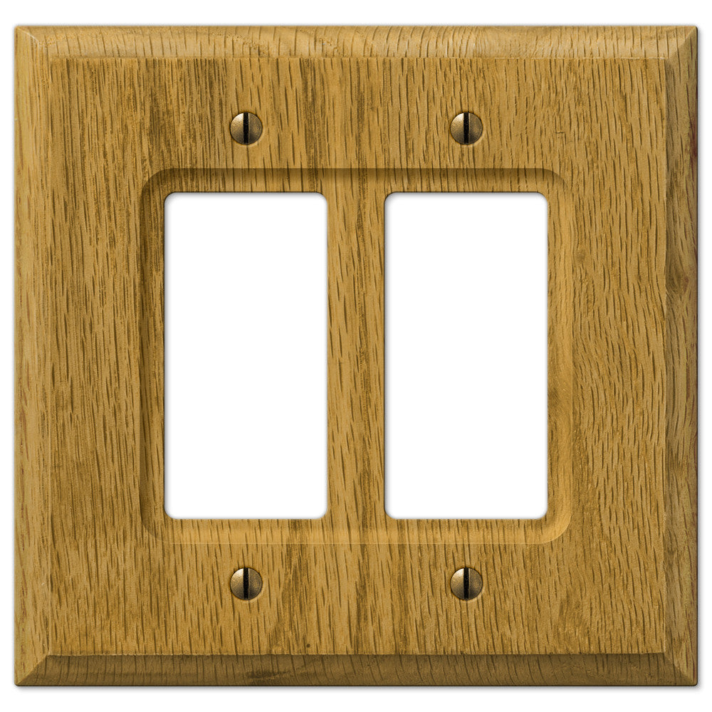 Carson Light Oak Wood  - 2 Rocker Wallplate - Wallplate Warehouse