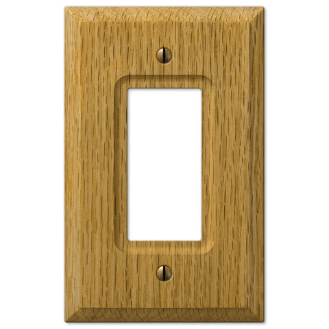 Carson Light Oak Wood  - 1 Rocker Wallplate - Wallplate Warehouse