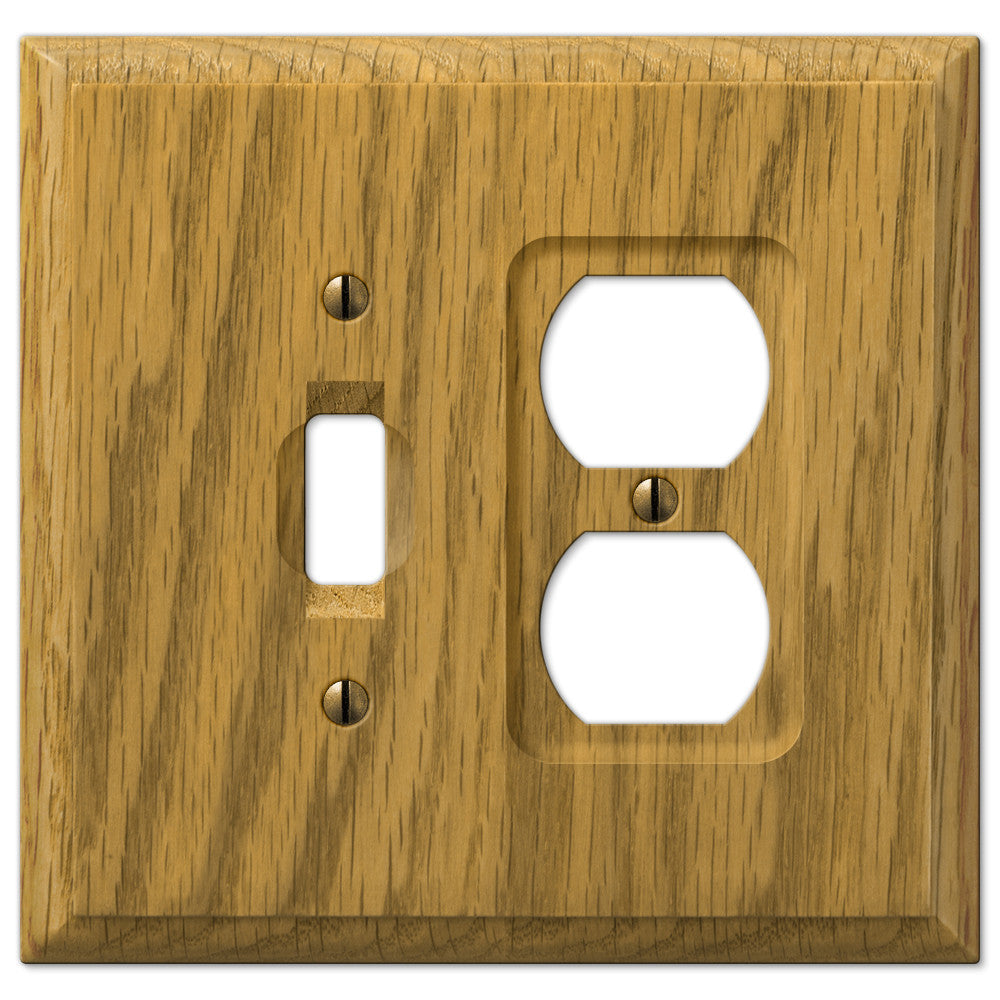 Carson Light Oak Wood  - 1 Toggle / 1 Duplex Outlet Wallplate - Wallplate Warehouse