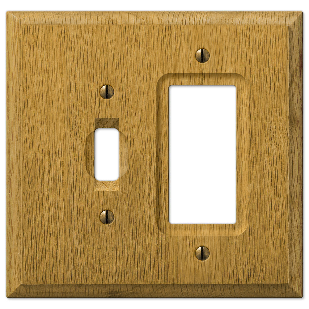 Carson Light Oak Wood  - 1 Toggle / 1 Rocker Wallplate - Wallplate Warehouse