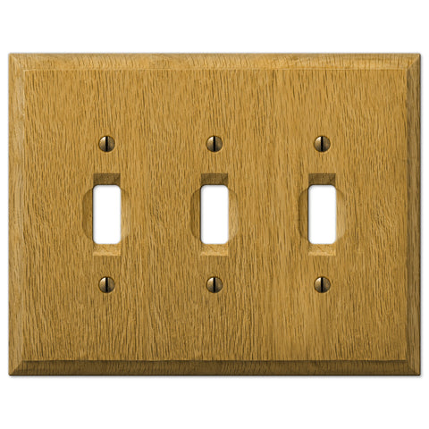 Carson Light Oak Wood  - 3 Toggle Wallplate - Wallplate Warehouse