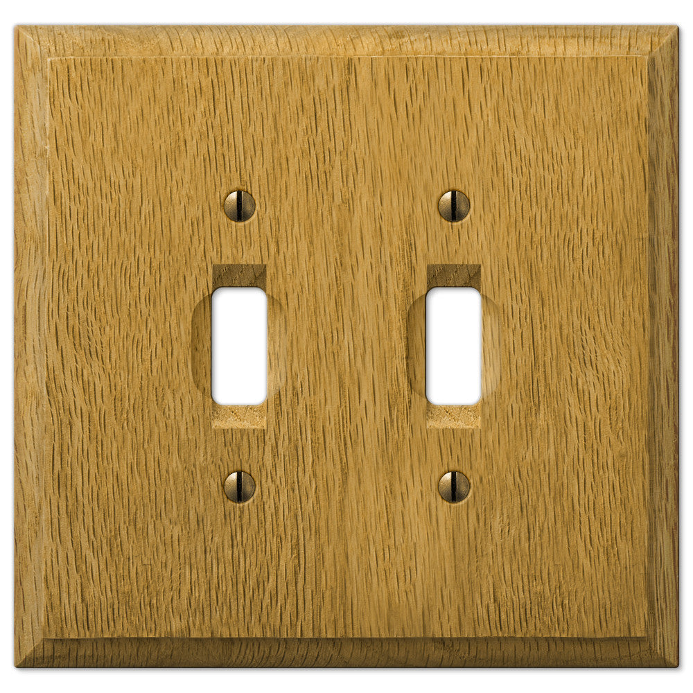Carson Light Oak Wood  - 2 Toggle Wallplate - Wallplate Warehouse