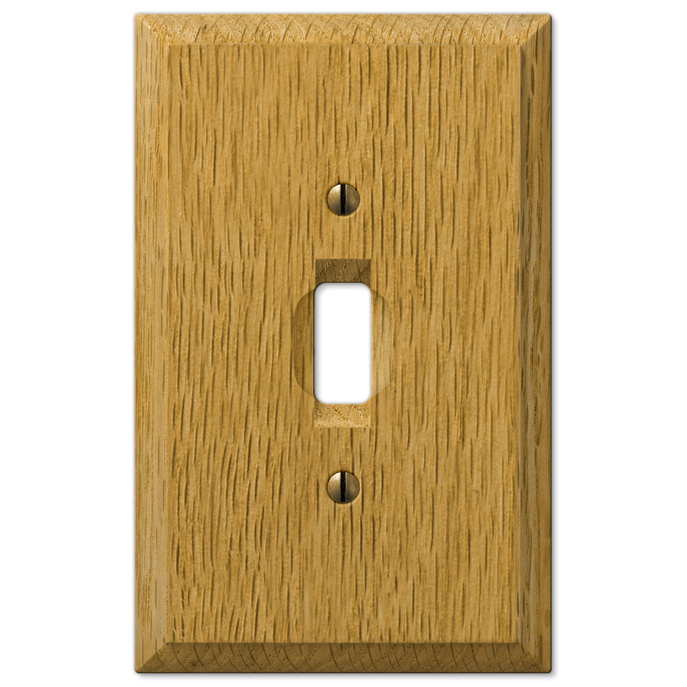 Carson Light Oak Wood  - 1 Toggle Wallplate - Wallplate Warehouse