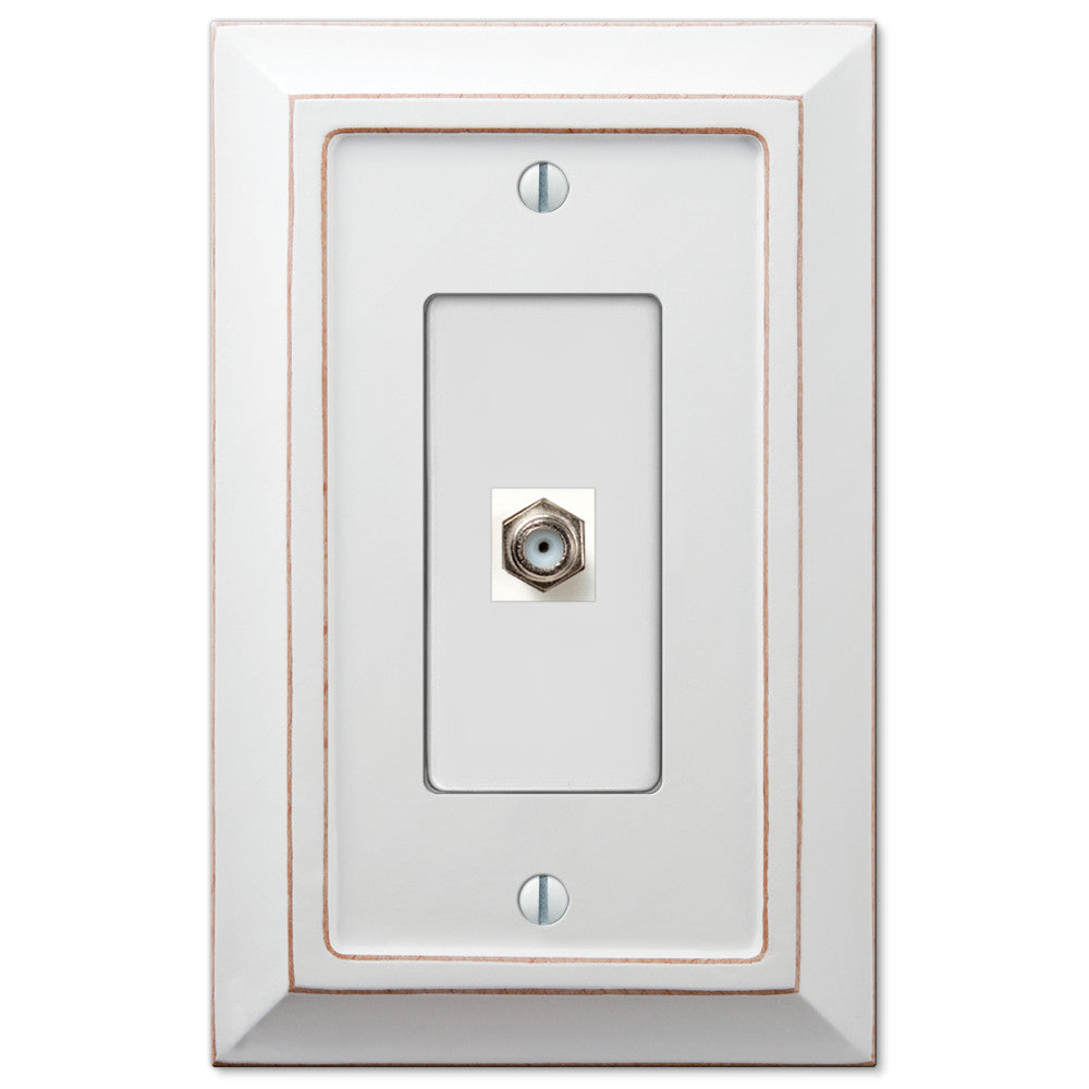Savannah Distressed White Wood - 1 Cable Jack Wallplate - Wallplate Warehouse
