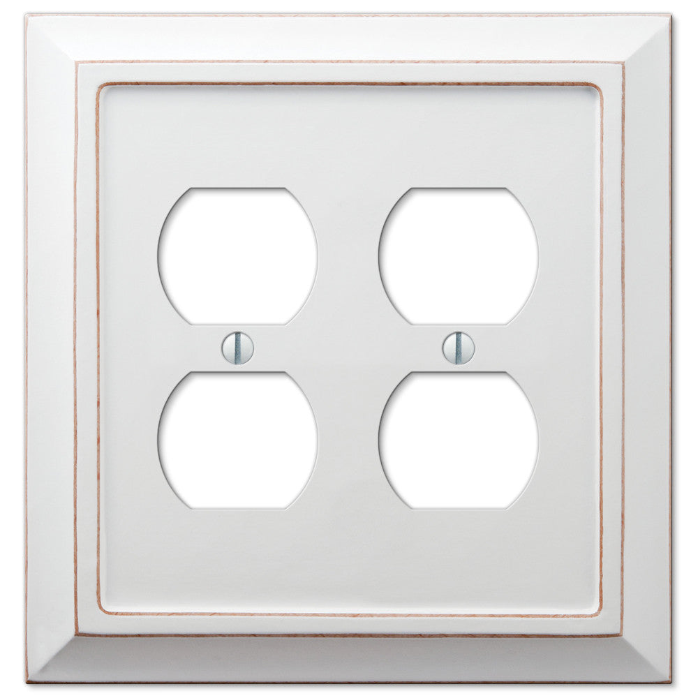 Savannah Distressed White Wood - 2 Duplex Outlet Wallplate - Wallplate Warehouse