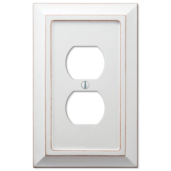 Savannah Distressed White Wood - 1 Duplex Outlet Wallplate - Wallplate Warehouse