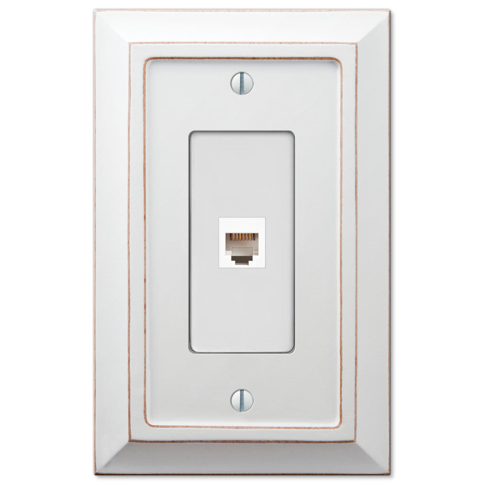 Savannah Distressed White Wood - 1 Phone Jack Wallplate - Wallplate Warehouse