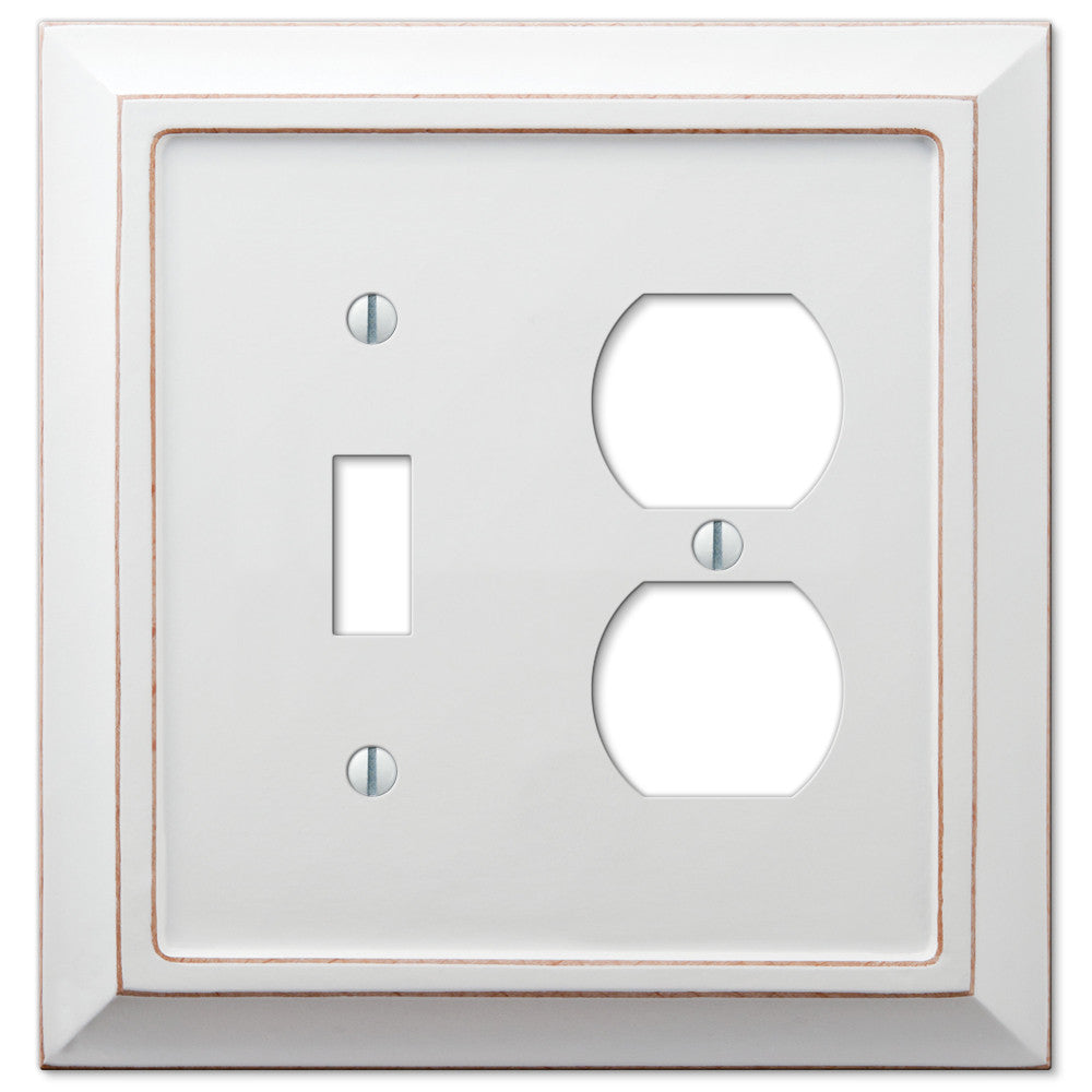 Savannah Distressed White Wood - 1 Toggle / 1 Duplex Outlet Wallplate - Wallplate Warehouse