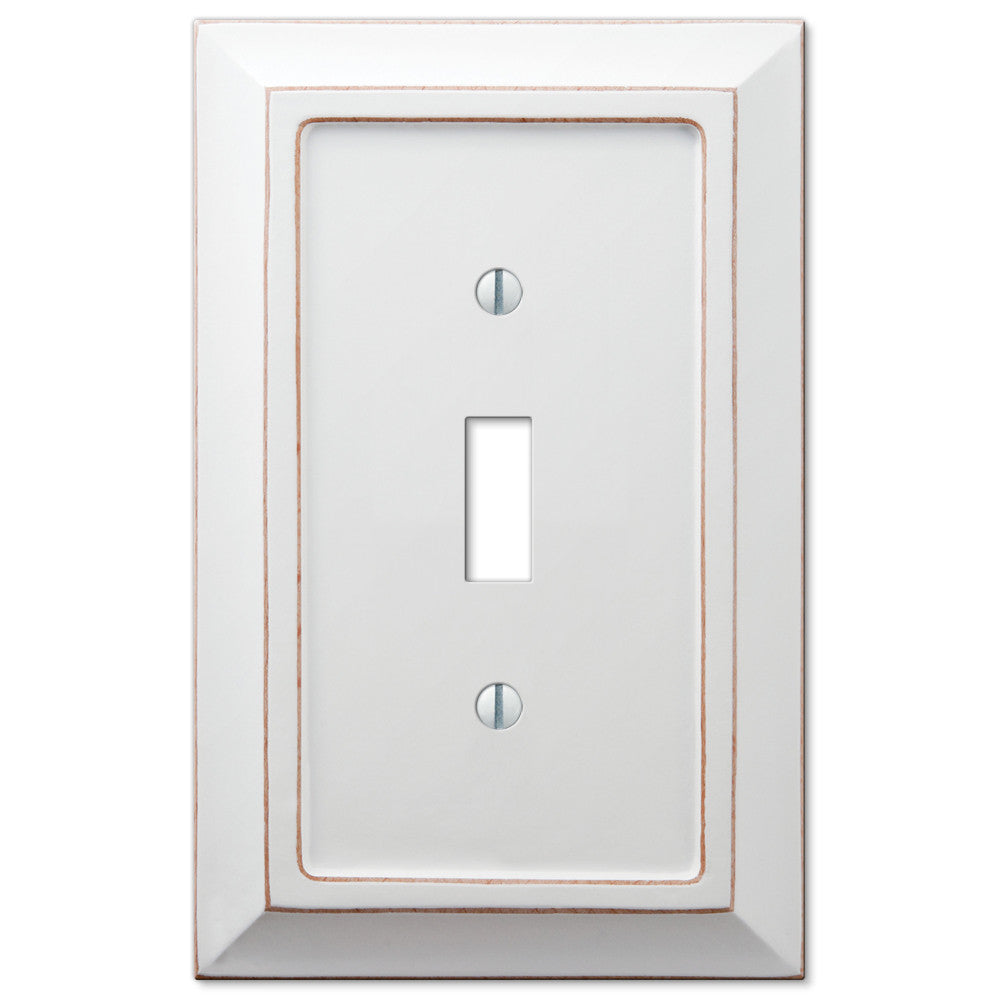 Savannah Distressed White Wood - 1 Toggle Wallplate - Wallplate Warehouse