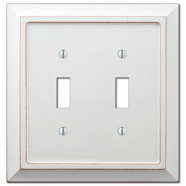 Savannah Distressed White Wood - 2 Toggle Wallplate - Wallplate Warehouse