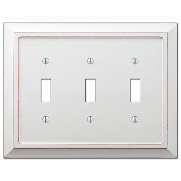 Savannah Distressed White Wood - 3 Toggle Wallplate - Wallplate Warehouse