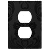 Damask Black Plastic - 1 Duplex Outlet Wallplate - Wallplate Warehouse