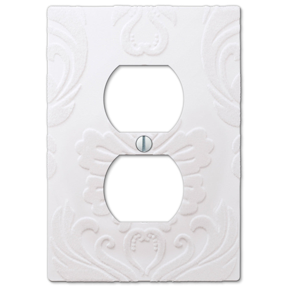 Damask White Plastic - 1 Duplex Outlet Wallplate - Wallplate Warehouse