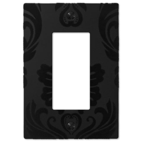 Damask Black Plastic - 1 Rocker Wallplate - Wallplate Warehouse