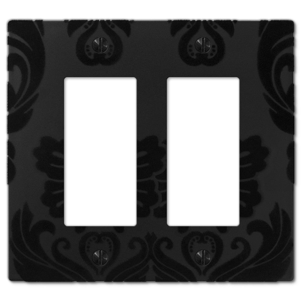 Damask Black Plastic - 2 Rocker Wallplate - Wallplate Warehouse