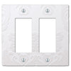Damask White Plastic - 2 Rocker Wallplate - Wallplate Warehouse