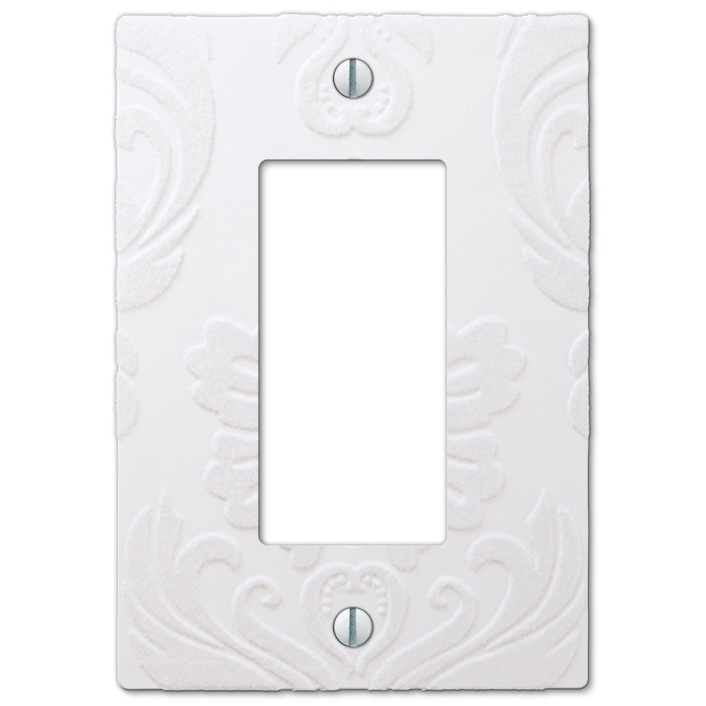 Damask White Plastic - 1 Rocker Wallplate - Wallplate Warehouse