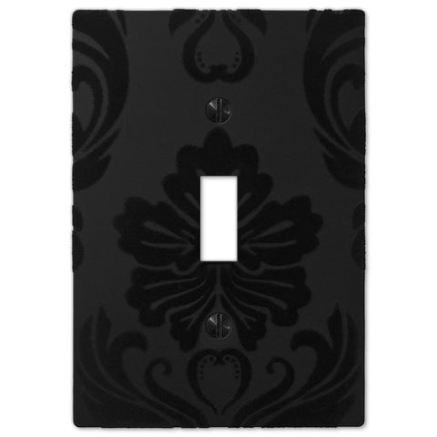 Damask Black Plastic - 1 Toggle Wallplate - Wallplate Warehouse