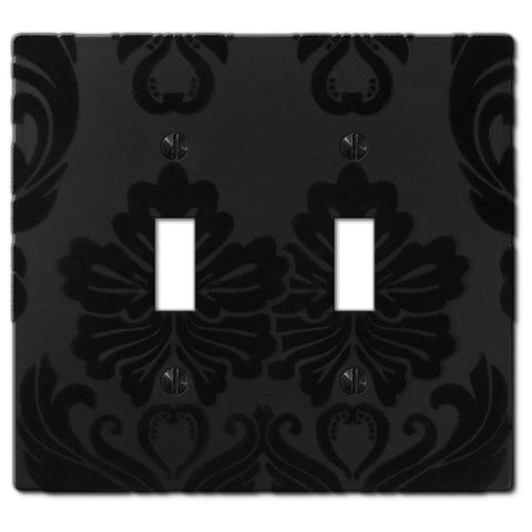 Damask Black Plastic - 2 Toggle Wallplate - Wallplate Warehouse