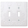 Damask White Plastic - 2 Toggle Wallplate - Wallplate Warehouse