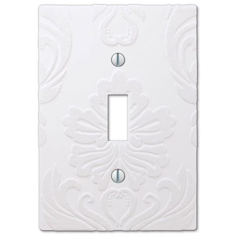 Damask White Plastic - 1 Toggle Wallplate - Wallplate Warehouse
