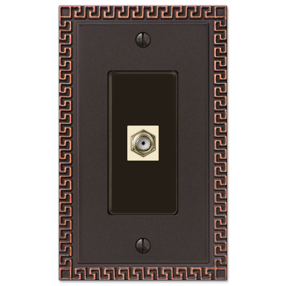 Greek Key Aged Bronze Cast - 1 Cable Jack Wallplate - Wallplate Warehouse