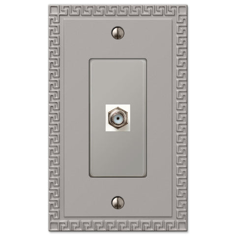 Greek Key Satin Nickel Cast - 1 Cable Jack Wallplate - Wallplate Warehouse