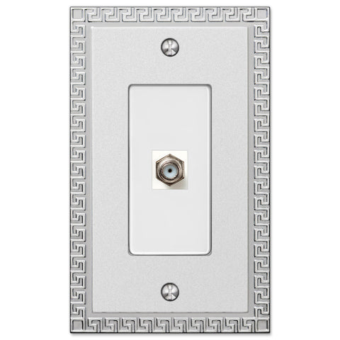 Greek Key Frosted Chrome Cast - 1 Cable Jack Wallplate - Wallplate Warehouse
