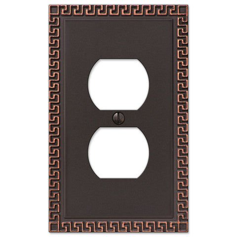Greek Key Aged Bronze Cast - 1 Duplex Outlet Wallplate - Wallplate Warehouse