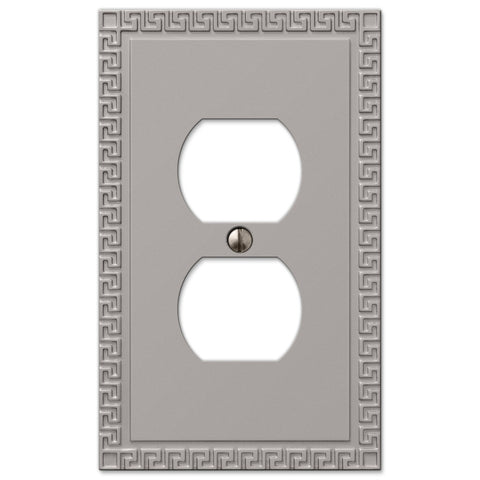 Greek Key Satin Nickel Cast - 1 Duplex Outlet Wallplate - Wallplate Warehouse