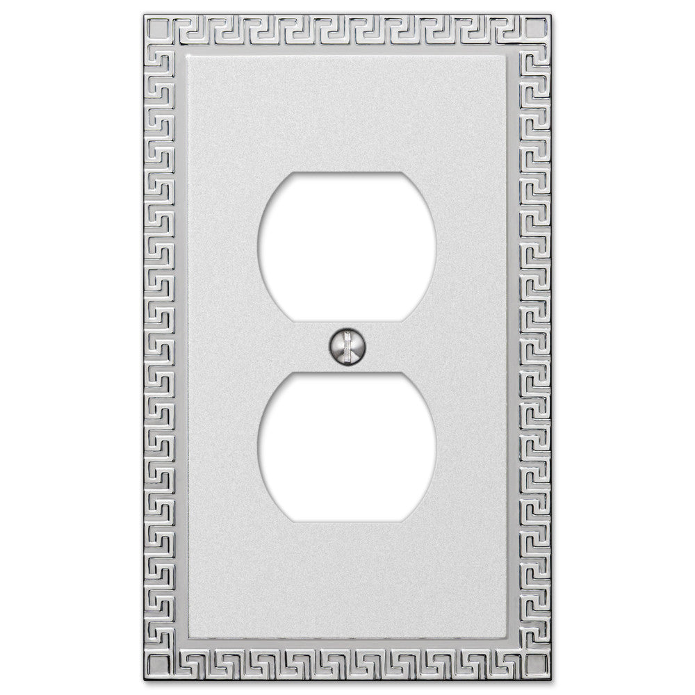 Greek Key Frosted Chrome Cast - 1 Duplex Outlet Wallplate - Wallplate Warehouse