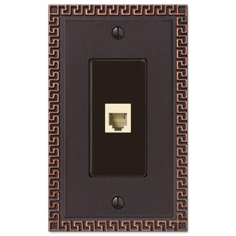 Greek Key Aged Bronze Cast - 1 Phone Jack Wallplate - Wallplate Warehouse