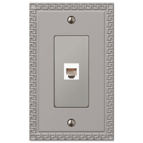 Greek Key Satin Nickel Cast - 1 Phone Jack Wallplate - Wallplate Warehouse