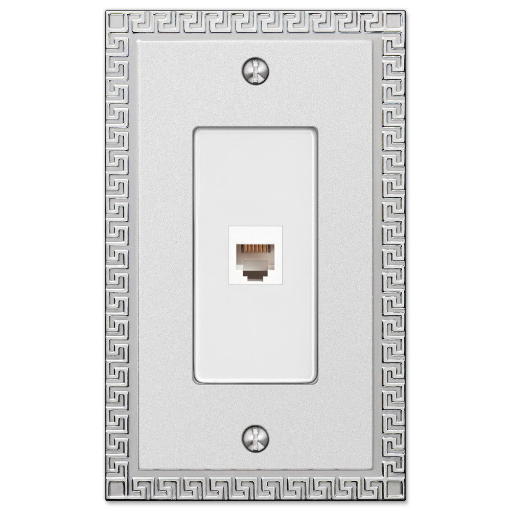 Greek Key Frosted Chrome Cast - 1 Phone Jack Wallplate - Wallplate Warehouse