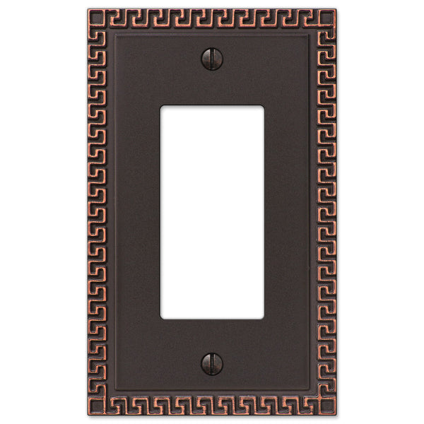 Greek Key Aged Bronze Cast - 1 Rocker Wallplate - Wallplate Warehouse