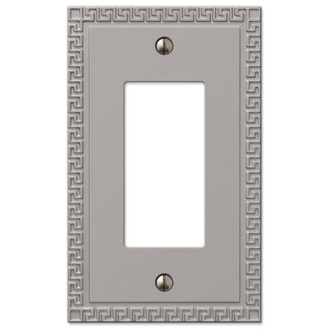 Greek Key Satin Nickel Cast - 1 Rocker Wallplate - Wallplate Warehouse
