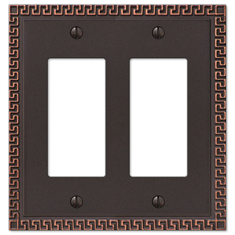 Greek Key Aged Bronze Cast - 2 Rocker Wallplate - Wallplate Warehouse