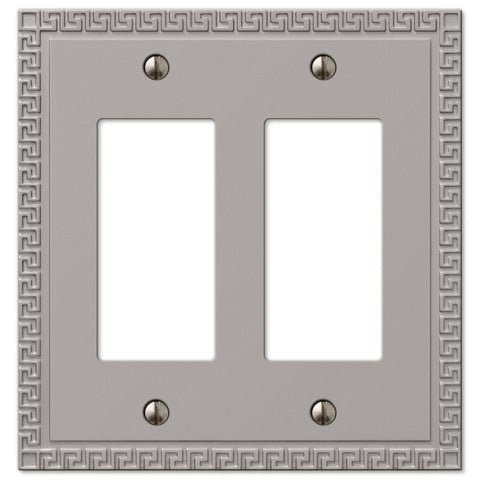 Greek Key Satin Nickel Cast - 2 Rocker Wallplate - Wallplate Warehouse