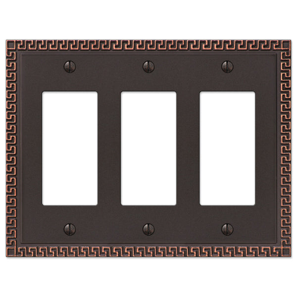Greek Key Aged Bronze Cast - 3 Rocker Wallplate - Wallplate Warehouse