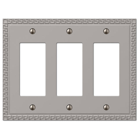 Greek Key Satin Nickel Cast - 3 Rocker Wallplate - Wallplate Warehouse