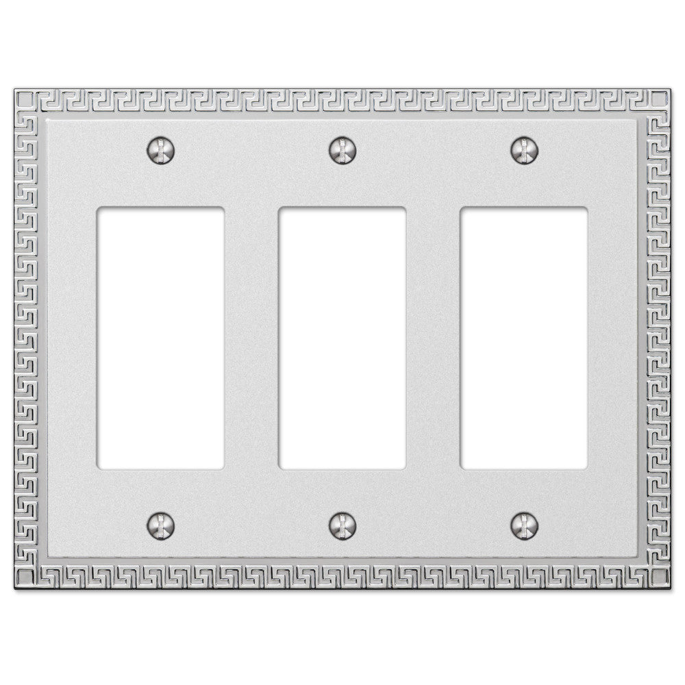Greek Key Frosted Chrome Cast - 3 Rocker Wallplate - Wallplate Warehouse