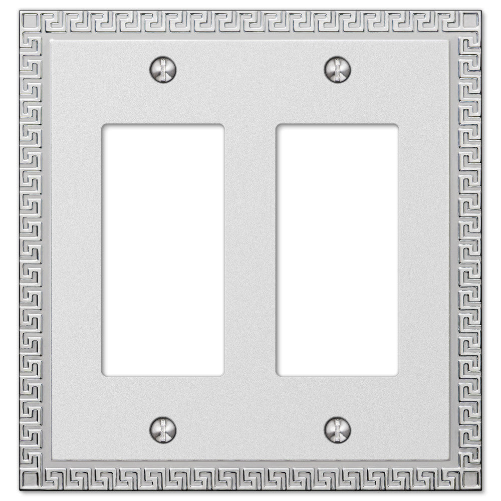 Greek Key Frosted Chrome Cast - 2 Rocker Wallplate - Wallplate Warehouse