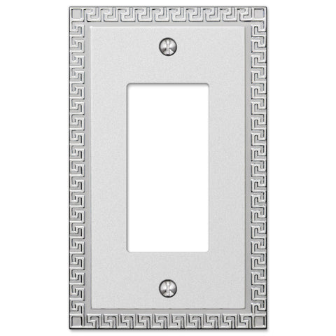 Greek Key Frosted Chrome Cast - 1 Rocker Wallplate - Wallplate Warehouse
