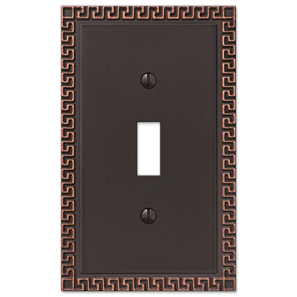 Greek Key Aged Bronze Cast - 1 Toggle Wallplate - Wallplate Warehouse