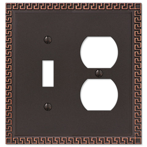 Greek Key Aged Bronze Cast - 1 Toggle / 1 Duplex Outlet Wallplate - Wallplate Warehouse
