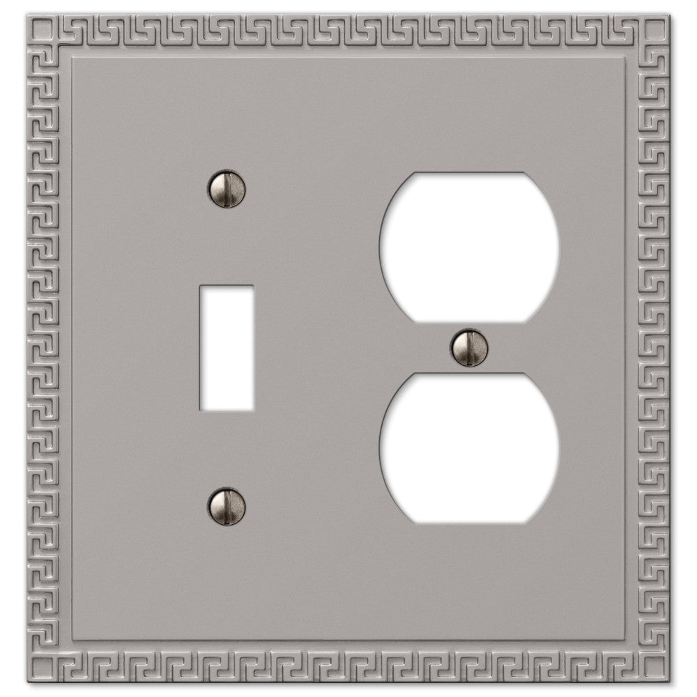 Greek Key Satin Nickel Cast - 1 Toggle / 1 Duplex Outlet Wallplate - Wallplate Warehouse