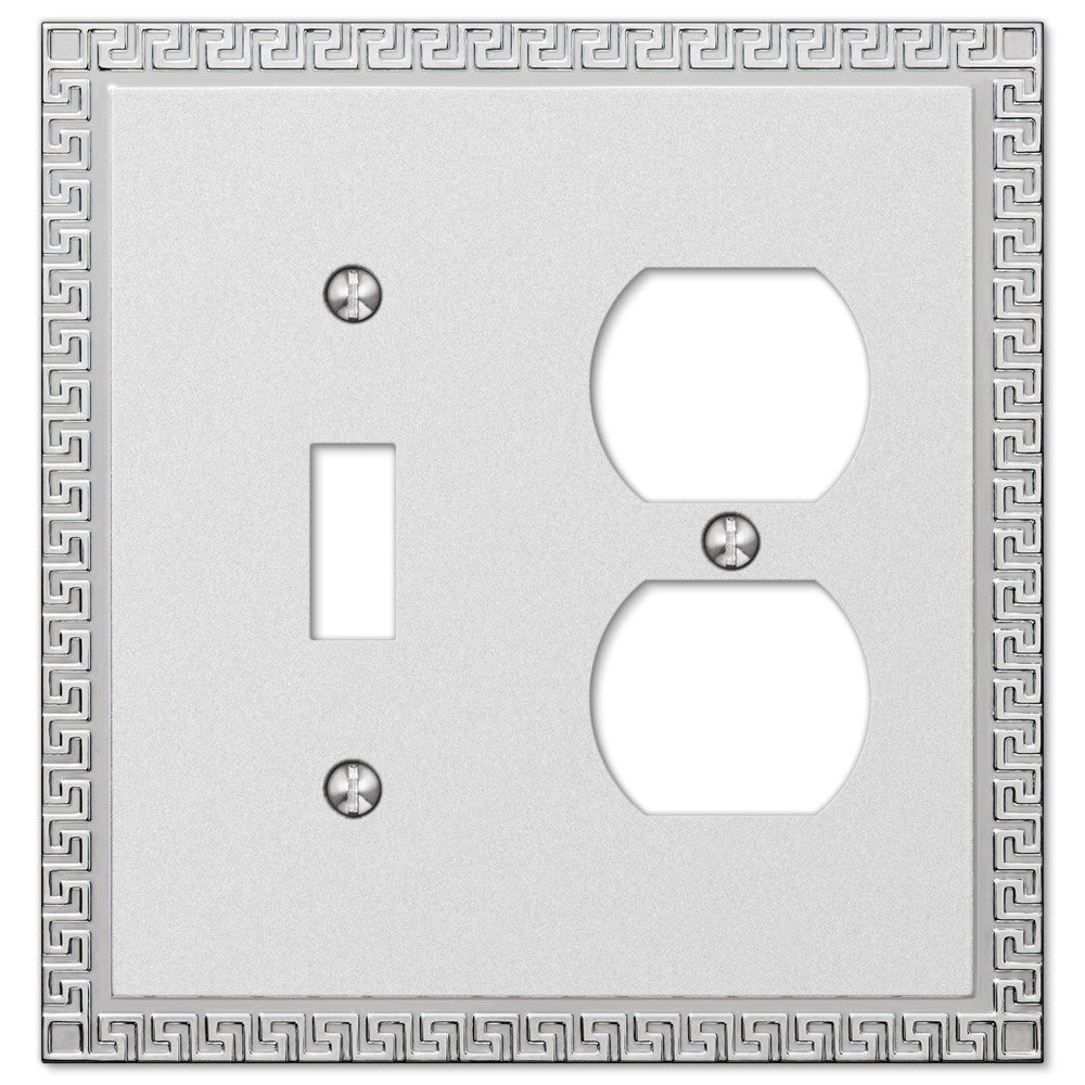 Greek Key Frosted Chrome Cast - 1 Toggle / 1 Duplex Outlet Wallplate - Wallplate Warehouse