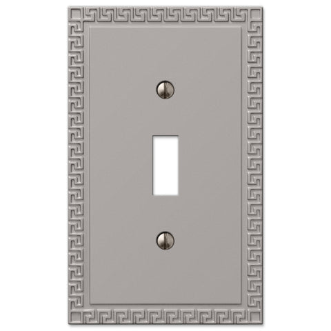 Greek Key Satin Nickel Cast - 1 Toggle Wallplate - Wallplate Warehouse